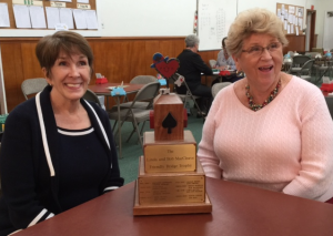 Kay Rogers and Carolyn Harmon, Winners of Friendly Bridge Trophy, October 11, 2015